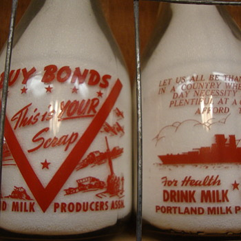 War Slogan Milk Bottles With Ships.....