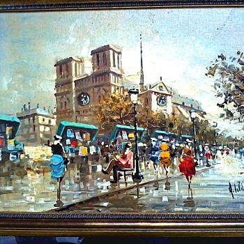 "Antonio DeVity Oils on Canvas / Two Paris Street Scenes /12""x 16"" Canvas/ Stamped, Signed and Framed/ Circa 1950's - Visual Art"