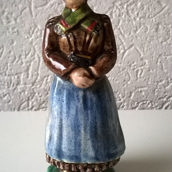 Slightly Scary Bible Toting Old Welsh Chalkware Figure, Thrift Shop Find 1 Euro ($1.08)