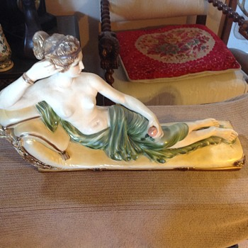 Vintage Nude Reclining On Chaise Lounge Chalk Ware Figurine Sculpture hand painted in water color