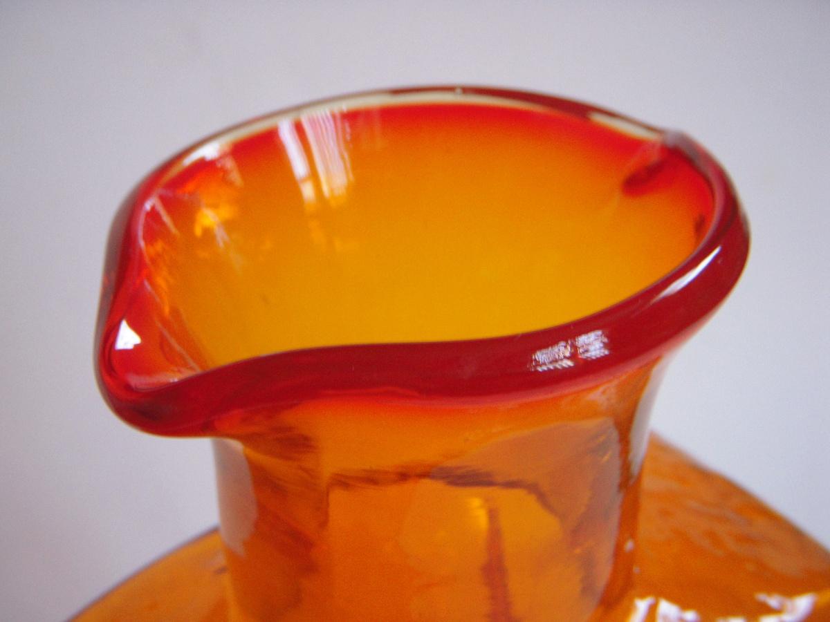 Large Orange Glass Vase Bottle American Scandinavian
