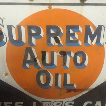 Supreme Auto Oil porcelain sign