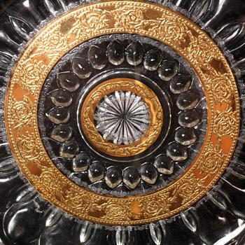 """Culver 10"""" Gold Leaf Platter ~ Tyrol Pattern"""
