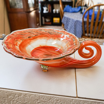 Orange Glass Cornucopia Candy Dish?