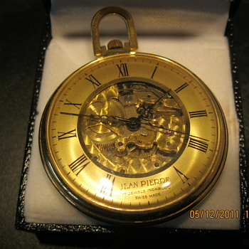 jean pierre open face pocket watch