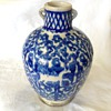 "9"" Handled Jug Blue & White Glaze (Flow Blue)"