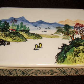 Handpainted Asian Motif Trinket Box-Old - Asian