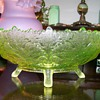Vaseline Maple Leaf Bowl by Gillinder &amp; Sons