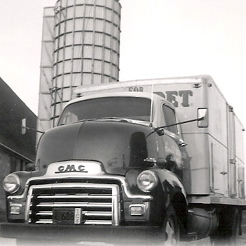 My Great Uncles Pet Milk Truck and him  - Photographs