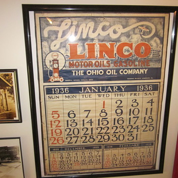 1936 Linco Motor Oils Calendar - Petroliana