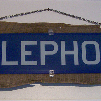 1950&#039;s Glass Telephone Booth sign