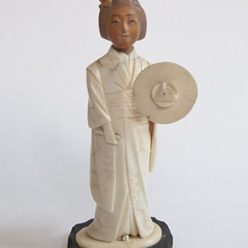 Ivory Woman, Carved Wood Head~Moveable arm~Isn't She Lovely?