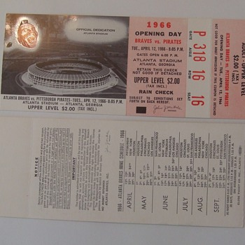 Atlanta Braves Opening Day Ticket Stubs 1966