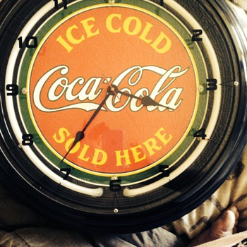 Unique neon coca cola clock
