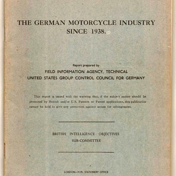 1946 - British Intelligence Manual on German Motorcycles - Paper