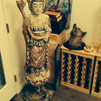 Buddha or Kwan Yin wooden 5 foot statue? - Asian