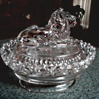 Imperial Glass Co. / Lion Cover with Lace Edge Dish / Circa 1950's - Glassware