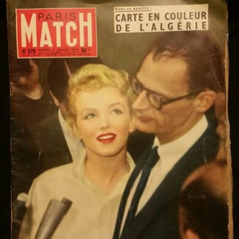 July 1956 Paris Match Magazine Marilyn Monroe Arthur Miller