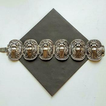 Vintage Balinese silver panels bracelet.