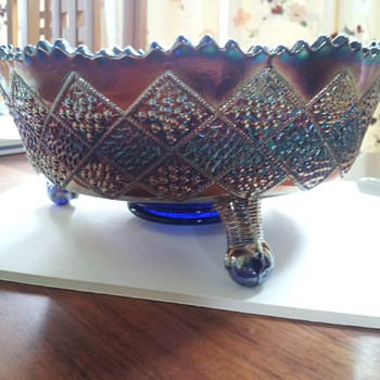Rare blue Fentonia Fruit Carnival Glass 8 1/2 inch diameter bowl
