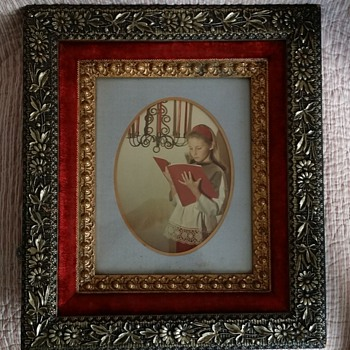 Vintage Red Velvet Gold Gilt Wooden Frame
