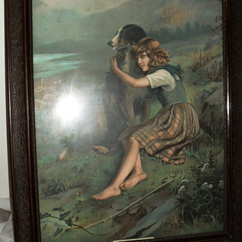 "Vintage framed print of Girl and Dog 19"" X 23"" - Posters and Prints"