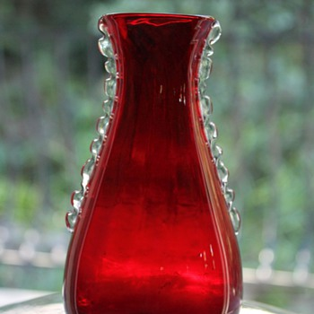 Whitefriars Ruby Flanged Vase