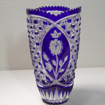 "Bohemian - Cobalt Blue - Cut To Clear 8"" Vase"