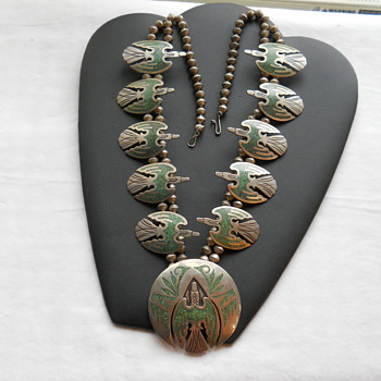 Native American Thunderbird Sterling &amp; Turuoise Squash Blossom Necklace - Native American
