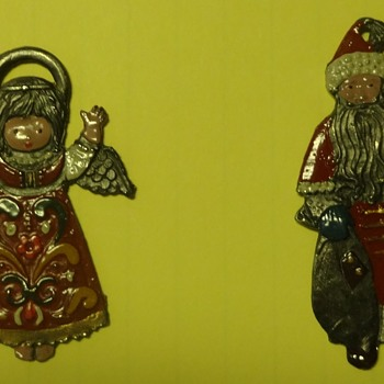 Vintage enamel covered steel flat Christmas ornaments - Christmas