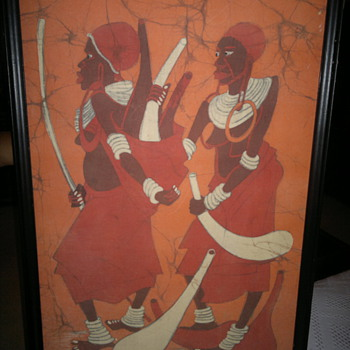 Omauri Warrior  African Dyed fabric   painting