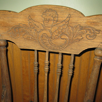 Primitive wooden, cherub carved child/toddler high chair