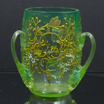Moser Azzuro Verde Enameled Tyg Cup - Art Glass