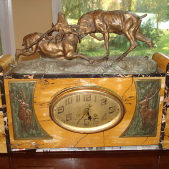 Art Deco/Nouveau marble clock with Signed Thomas Francois Cartier Buck Sculpture 1910 -17 - Art Deco