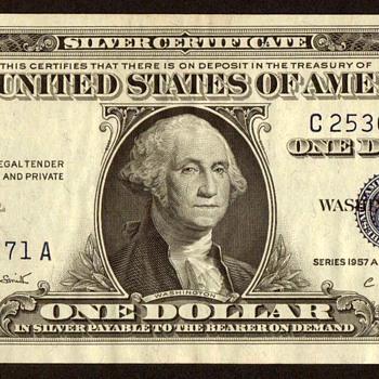 1957 A - U.S. $1 Silver Certificate - US Paper Money