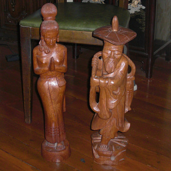 Two foot tall Wood carvings  - Asian