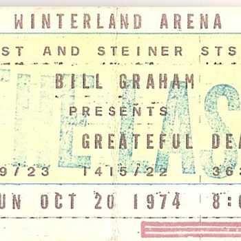 Grateful Dead Winterland ticket, 10/20/74 - Music