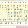 Grateful Dead Winterland ticket, 10/20/74