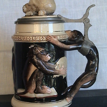 German &quot;Darwin&quot; Chimp Stein With Skull On Lid