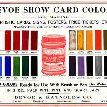 Devoe Poster Show Card Colors Salesman Sample - Advertising