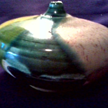 Lois Van Vleet Art Pottery Vase / Yellow and Green Drip Glaze/ Circa 2004 - Pottery