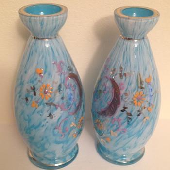 Pretty enamelled pair - Welz / unknown - Art Glass