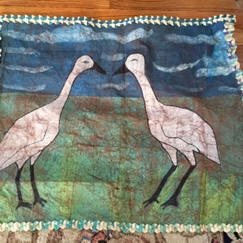 Vintage Animal Skin Canvas Bird Painting (Cranes?) Help! - Visual Art