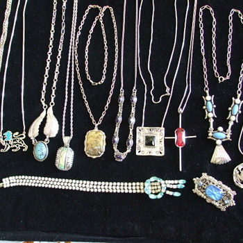 Mostly Silver 925 and Sterling Chains/Pendants with a few Brooches to Boot - Sterling Silver