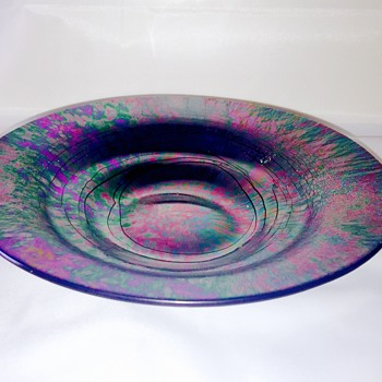 Vintage Purple Green Threaded Iridescent Plate Bowl Help