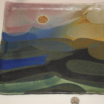 Square Plate Falling Darkness by Charles Higa - Art Pottery