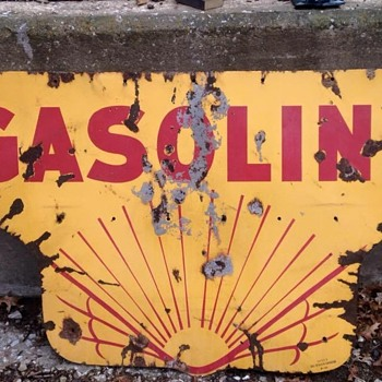 1920's Shell sign Gasoline half.
