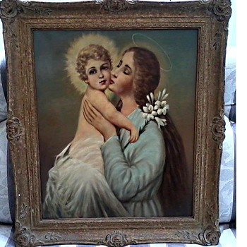 "Madonna and Child Oil on Canvas 20 "" x 24"" /Ornate Gesso Frame /Signed Unknown/Circa 19th- 20th Century - Fine Art"