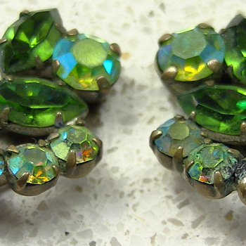 Green austria earrings - Art Deco