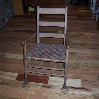 Spring footed chair, feels just like a rocker when in use. - Folk Art